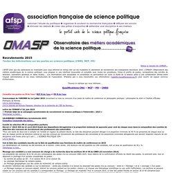 Portail web de l'AFSP / OMASP Recrutements 2015 en science politique