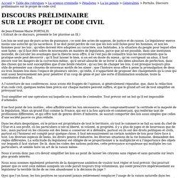 Portalis, Discours préliminaire sur le projet de code civil