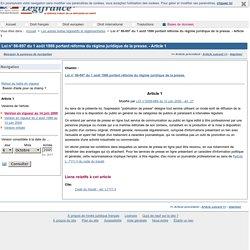Loi n° 86-897 du 1 août 1986 portant réforme du régime juridique de la presse. - Article 1