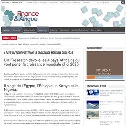 4 pays d'Afrique porteront la croissance mondiale d'ici 2025 - Finance Afrique