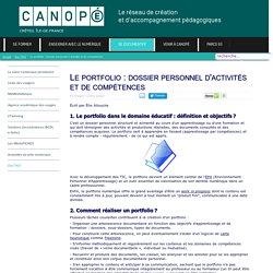 Canopé Créteil - Le portfolio : dossier personnel d'activités et de compétences