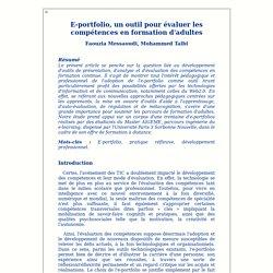 E-portfolio, un outil pour évaluer les compétences en formation d'adultes