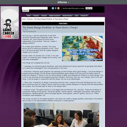The Game Design Portfolio: Is- GameCareerGuide.com