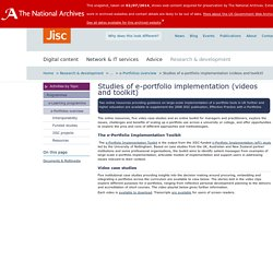 Studies of e-portfolio implementation (videos and toolkit) : Jisc