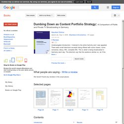 Dumbing Down as Content Portfolio Strategy: A Comparison of Public and ... - Resulhan Öztimur