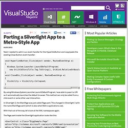 Porting a Silverlight App to a Metro-Style App