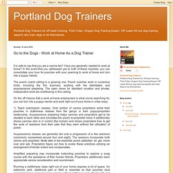 Go to the Dogs - Work at Home As a Dog Trainer