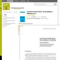 Le portrait chez M. Duras : de la poétique à l'idiolecte