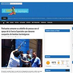 El Sol de Iquique – Portuarios armaron su arbolito de pascua con el apoyo de la Fuerza Especiales que donaron casquetes de bombas lacrimógenas