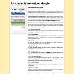 Posicionamiento web en Google - Tutorial y Recursos