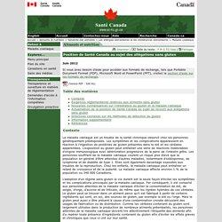 Position de Santé Canada au sujet des allégations sans gluten