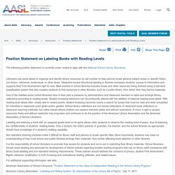 Position Statement on Labeling Books with Reading Levels