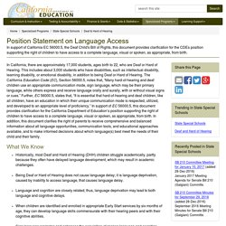 Position Statement on Language Access - Deaf & Hard of Hearing