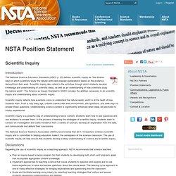 Scientific Inquiry & Education - NSTA Position Statements
