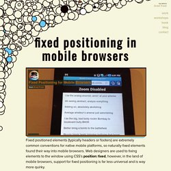 Fixed Positioning in Mobile Browsers