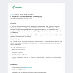 Positionly - Jobs: Customer Success Manager with English - Apply online