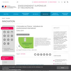 L'innovation en France : indicateurs de positionnement international