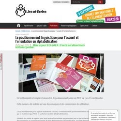 Le positionnement linguistique pour l'accueil et l'orientation en (...) - Lire et Écrire