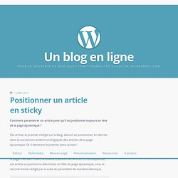 Positionner un article en sticky