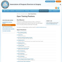 Open Training Positions | Association of Program Directors in Surgery