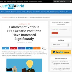 Salaries for Various SEO-Centric Positions Have Increased Significantly