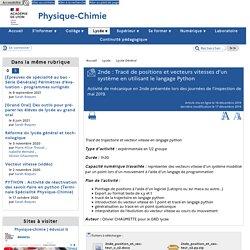 2nde : Tracé de positions et vecteurs vitesses d'un système en utilisant le langage Python - [Physique et Chimie - académie de Lyon]