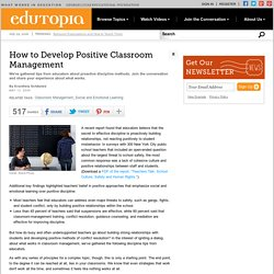 How to Develop Positive Classroom Management