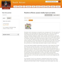 Positive effects social media have on teens