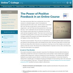 The Power of Positive Feedback in an Online Course