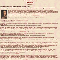 Positive Atheism's Big List of Voltaire Quotations