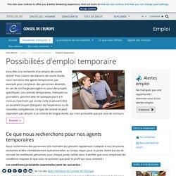 Possibilités d'emploi temporaire - Conseil de l'Europe