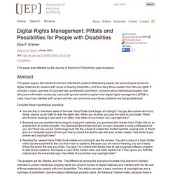 Digital Rights Management: Pitfalls and Possibilities for People with Disabilities