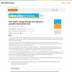 Fast foods, energy density and obesity: a possible mechanistic link - Prentice - 2003 - Obesity Reviews