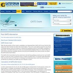Post GATE Information - GATEFORUM