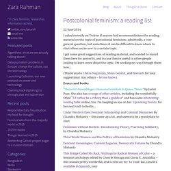 Postcolonial feminism: a reading list - zararah.net Zara Rahman