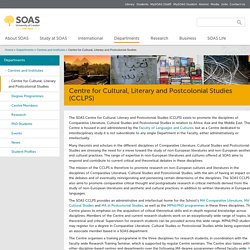 Centre for Cultural, Literary and Postcolonial Studies (CCLPS) at SOAS University of London