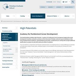 High Potentials - Academy for Postdoctoral Career Development - Career Development - Potsdam Graduate School - University of Potsdam