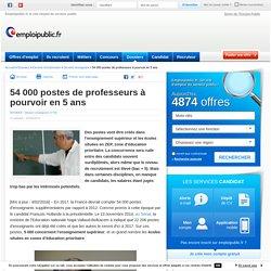 54 000 postes de professeurs à pourvoir en 5 ans