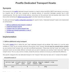 Postfix Dedicated Transport Howto