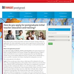 Applying for postgraduate initial teacher training