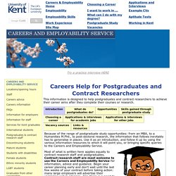 Kent Careers for Postgraduates and Contract Researchers