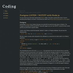 Postgres LISTEN / NOTIFY with Node.js - Coding by Björn Gylling
