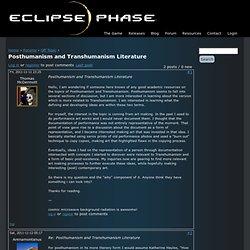 Posthumanism and Transhumanism Literature