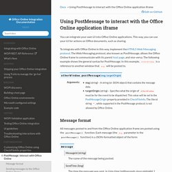 Using PostMessage to interact with the Office Online application iframe — Office Online Integration Documentation 2016.01.27 documentation