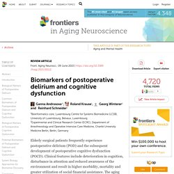 Biomarkers of postoperative delirium and cognitive dysfunction