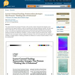 """Learner-Centered Teaching: Postsecondary Strategies That Promote """"Thinking Like A Professional"""""""