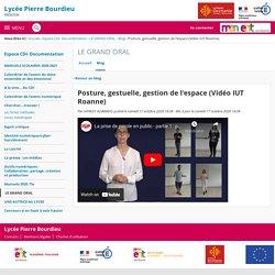 Posture, gestuelle, gestion de l'espace (Vidéo IUT Roanne) - LE GRAND ORAL - LYCEE GENERAL PIERRE BOURDIEU