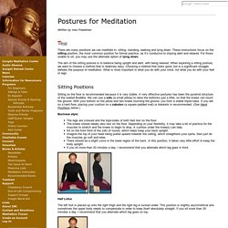 Postures for Meditation: Insight Meditation Center