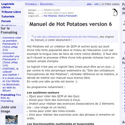 Manuel de Hot Potatoes version 6 - Éducation