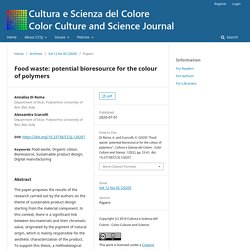 COLOR CULTURE AND SCIENCE JOURNAL - 2020 - Food waste: potential bioresource for the colour of polymers